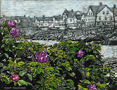 Painting - Beach Roses - Short Sands - York Maine by Robert Goudreau