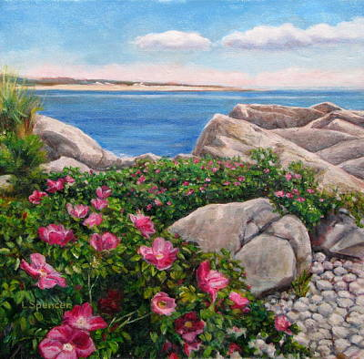 Massachussetts Painting - Beach Roses by Linda Spencer
