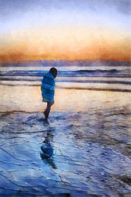 Digital Art - Beach Stroll On A Chilly Morning by Francesa Miller
