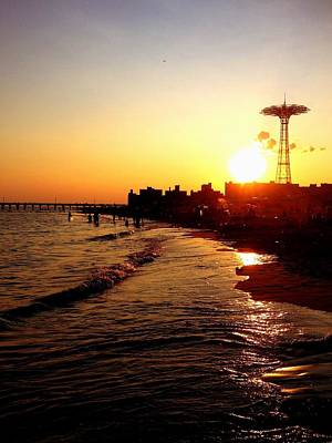 Sunset Photograph - Beach Sunset - Coney Island - New York City by Vivienne Gucwa