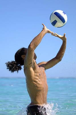 Beach Volley Art Print by Didier Belrose