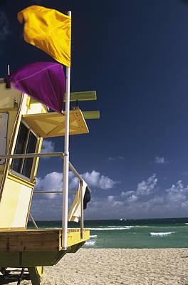 Undertow Photograph - Beach Warning Flags by Alan Sirulnikoff