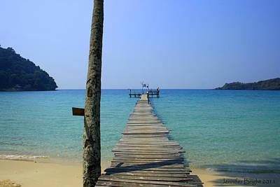 Photograph - Beach With Long Woden Dock 1 Koh Kut Thailand by Jennifer Bright