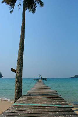 Photograph - Beach With Long Woden Dock 2 Koh Kut Thailand by Jennifer Bright