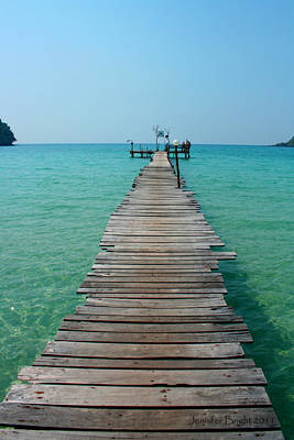 Photograph - Beach With Long Woden Dock 3 Koh Kut Thailand by Jennifer Bright