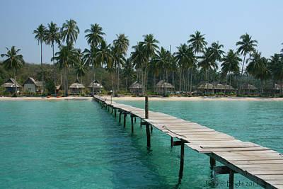 Photograph - Beach With Long Woden Dock 4 Koh Kut Thailand by Jennifer Bright