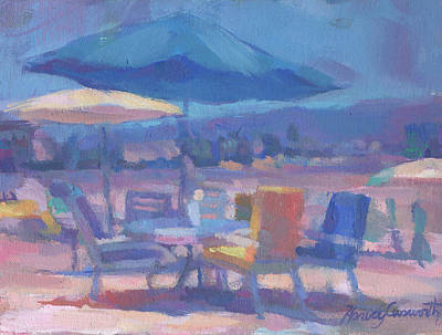 Painting - Beach With Table And Chairs by Harvey Cusworth