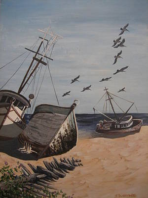 Painting - Beached Boats by Barbara Prestridge