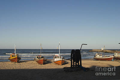 Beached Fishing Boats Print by Roberto Westbrook