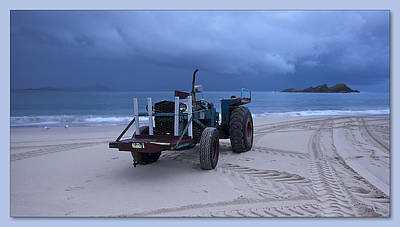 Art Print featuring the digital art Beached Tractor by Kevin Chippindall