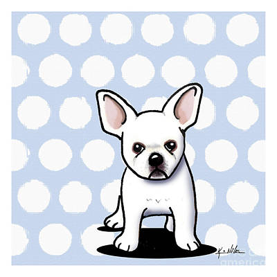 Beachy In Blue Bulldog Print by Kim Niles