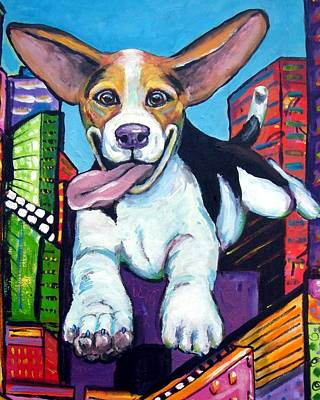 Dog Painting - Beagle Flying Through City by Dottie Dracos