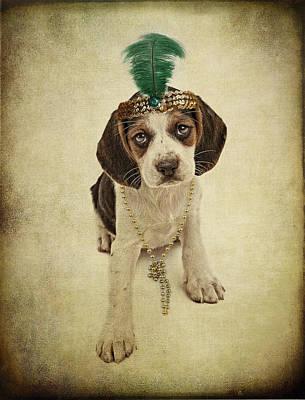 Beagle Puppy Flapper  Art Print by Susan Schmitz