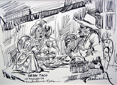 Tortillas Drawing - Bean Tacos At La Margarita by Bill Joseph  Markowski