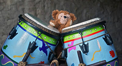 Art Print featuring the photograph Bear And His Drums At Walt Disney World by Thomas Woolworth