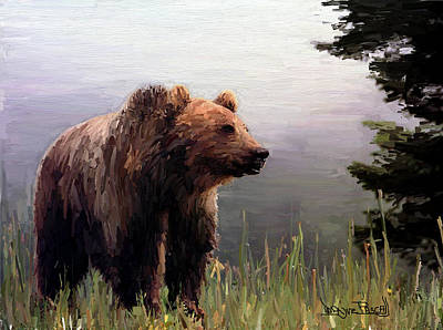 Art Print featuring the painting Bear In The Woods by Wayne Pascall