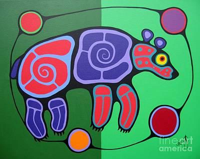 Colorful Native American Painting - Bear by Jim Oskineegish