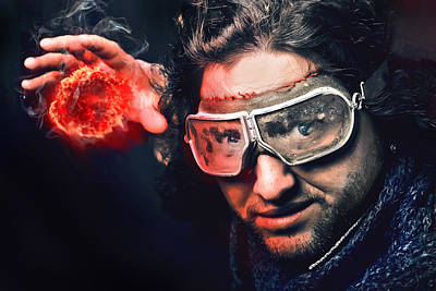 Bearded Emotional Man In Goggles Of Aviation Pilot With Fireball Original
