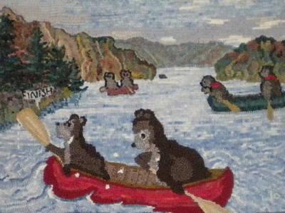 Bears In Canoes Art Print by Brenda Ticehurst