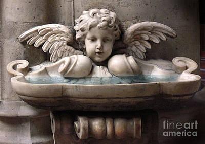 Cherub Photograph - Paris Angel Cherub Fountain - Beautiful Angel Cherub Wings At Fountain Sculpture by Kathy Fornal