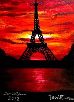 Painting - Beautiful Eiffel Tower Paris France At Sunset by Teo Alfonso