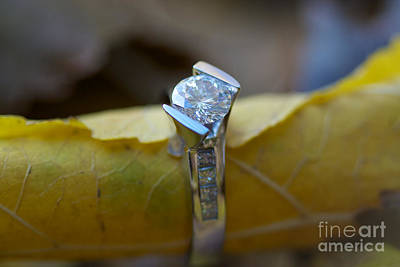 Gold Leaf Ring Photograph - Beautiful Engagement One by Brooke Roby