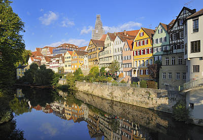 Beautiful German Town Tuebingen - Neckar Waterfront Art Print