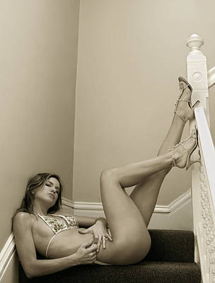 Beautiful Girl In Bikini Looking At Her Legs In Stiletto Shoes At Staircase 2 Original by Anton Oparin