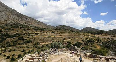 Photograph - Beautiful Mountain Range View II Of The Ancient Hilltop And Archeological Remains In Mycenae Greece by John Shiron