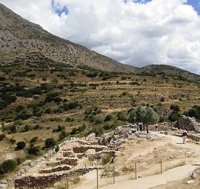 Photograph - Beautiful Mountain Range View Of The Ancient Hilltop And Archeological Remains In Mycenae Greece by John Shiron