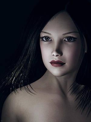Art Print featuring the digital art Beautiful Portrait by Maynard Ellis