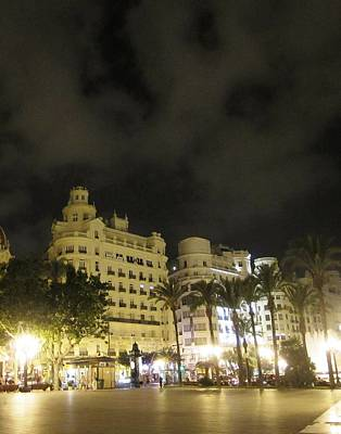 Photograph - Beautiful Valencia Square Architecture Night Life Street Lamp Poles II Spain by John Shiron