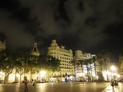 Photograph - Beautiful Valencia Square Architecture Night Life Street Lamp Poles IIi Spain by John Shiron