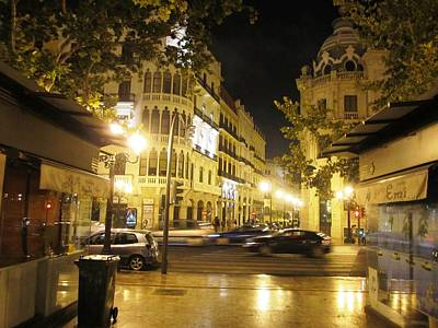 Photograph - Beautiful Valencia Square Architecture Night Life Street Lamp Poles Iv Spain by John Shiron