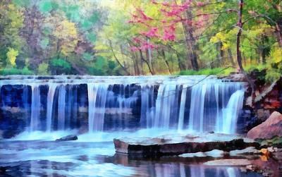 Art Print featuring the digital art Beautiful Water Fall by Walter Colvin