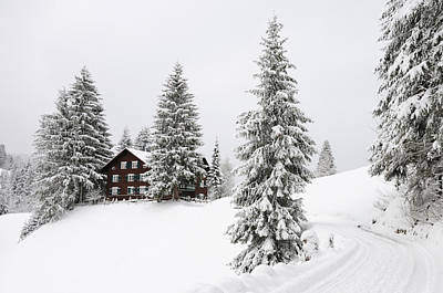 Photograph - Beautiful Winter Landscape With Trees And House by Matthias Hauser