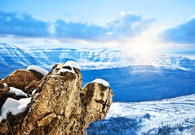 Christmas Holiday Scenery Photograph - Beautiful Winter Mountains Landscape by Anna Om