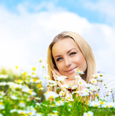 Beautiful Woman Enjoying Daisy Field And Blue Sky Art Print by Anna Om