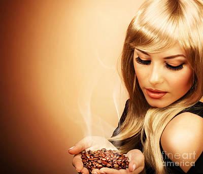 Beautiful Woman Holding Coffee Bean Art Print by Anna Om