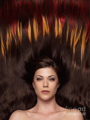 Beautiful Woman With Hair Extensions In A Shape Of Fire Art Print