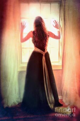 Beautiful Young Woman In Gown By Window Art Print by Jill Battaglia