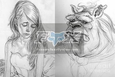 Beauty And The Beast Drawing - Beauty And The Beast by Hossam Fox