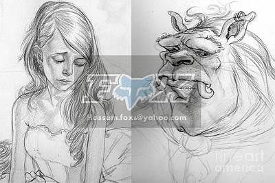 Beauty And The Beast Art Print by Hossam Fox