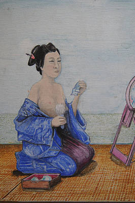 Wall Art - Mixed Media - Beauty Is In The Eye Detail Geisha Mirror by Jeremiah Dirt