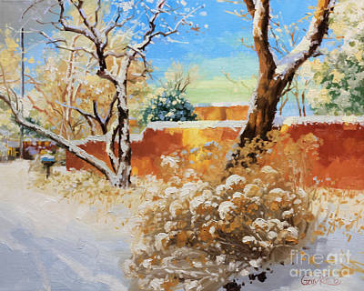 Canyons Painting - Beauty Of Winter Santa Fe by Gary Kim
