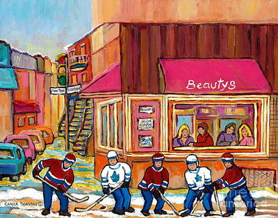 Our National Sport Painting - Beauty's Restaurant-montreal Street Scene Painting-hockey Game-hockeyart by Carole Spandau