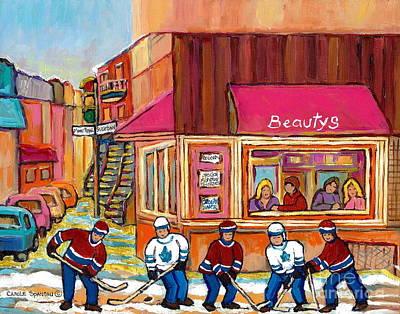 Beauty's Restaurant-montreal Street Scene Painting-hockey Game-hockeyart Art Print by Carole Spandau
