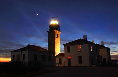 Photograph - Beavertail Lighthouse At Twilight by John Burk
