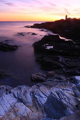 Photograph - Beavertail State Park Ocean Bluffs And Lighthouse by John Burk