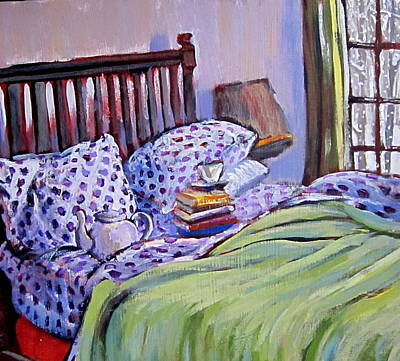 Print featuring the painting Bed And Books by Tilly Strauss